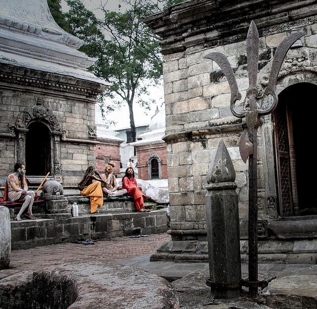 Big Iron Triden Sadhus. Pashupatinath Temple